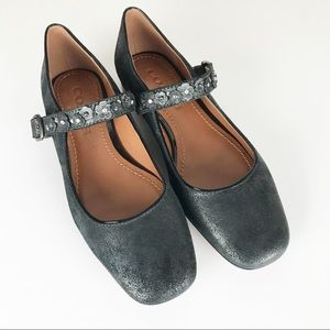 COACH Mary Jane with tea Rose anthracite flats